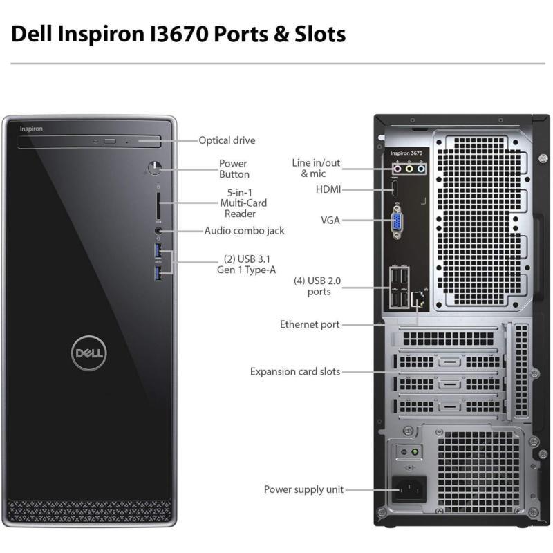 Dell Inspiron 3670 Desktop I7 8700 16gb 128gb 1tb Dvdrw Wifi Win10 Warranty Max Mart